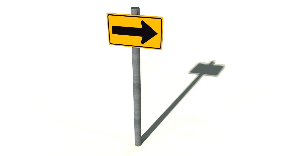3ds max right turn sign