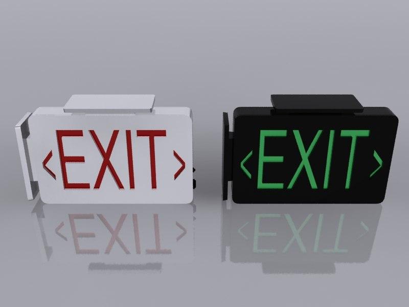 3d max exit signs