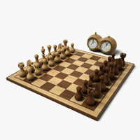 3d minimal chess set hd model