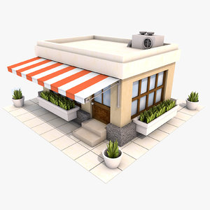 cartoon restaurant 3d max