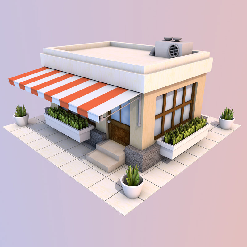 cartoon restaurant 3d max