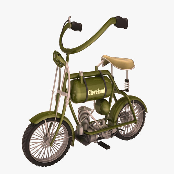 antique cartoon motorcycle 3d model