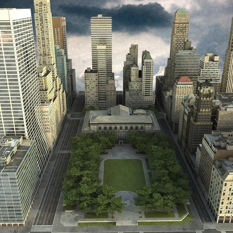 3d model manhattan district 03 city