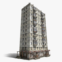 abandoned 12-storey panel house 3d max