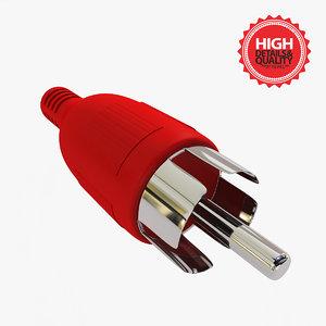 3d rca connector modelled model
