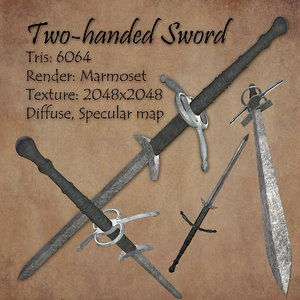 free two-handed sword 3d model