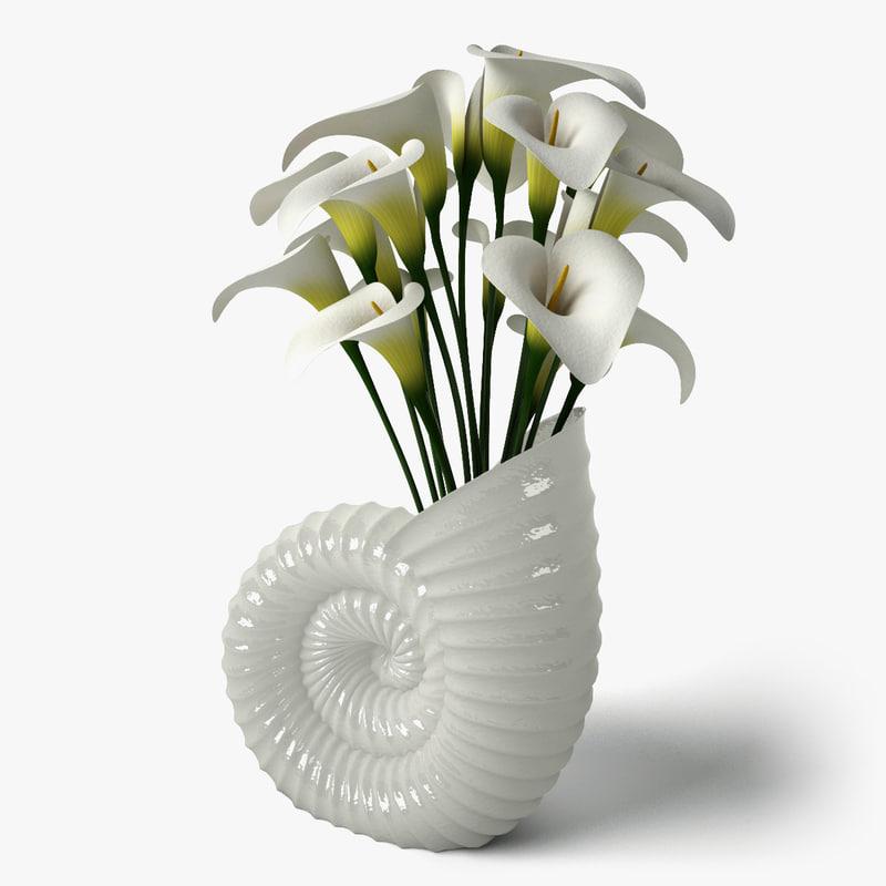 3ds calla shell vase