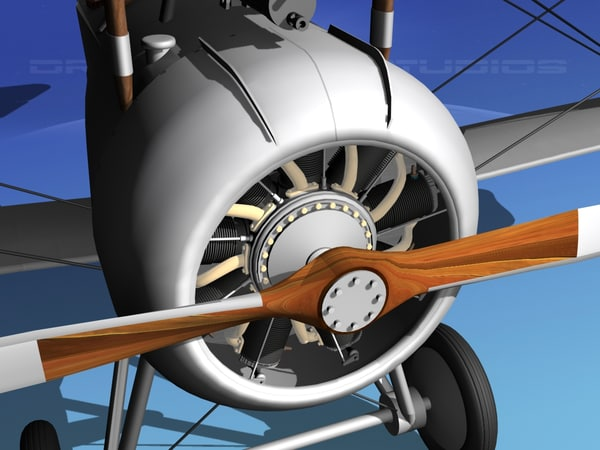 3d high-poly nieuport 17 fighter aircraft model