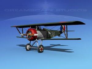3d high-poly nieuport 17 fighter aircraft