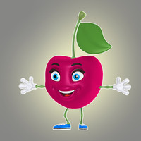 3d model of cool cartoon cherry