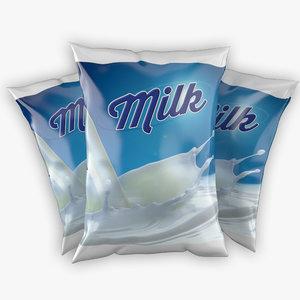 3d sachet milk model