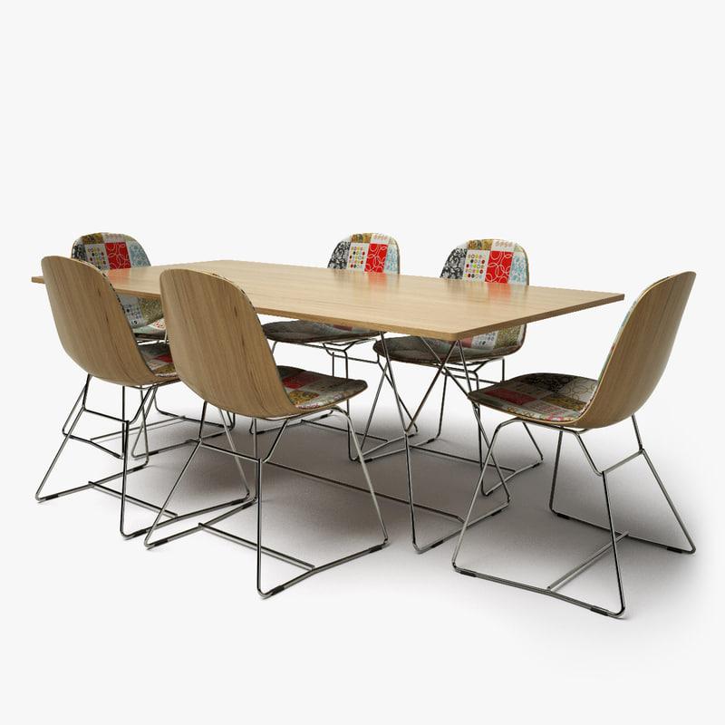 patchwork chair posse table design 3d model