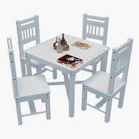 3d model outdoor table chairs 1