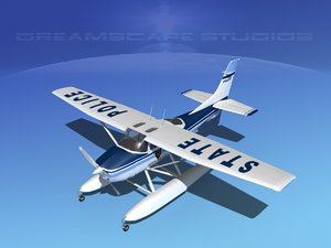 propeller cessna 182 seaplane 3d max