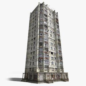 3d model abandoned 16-storey panel house