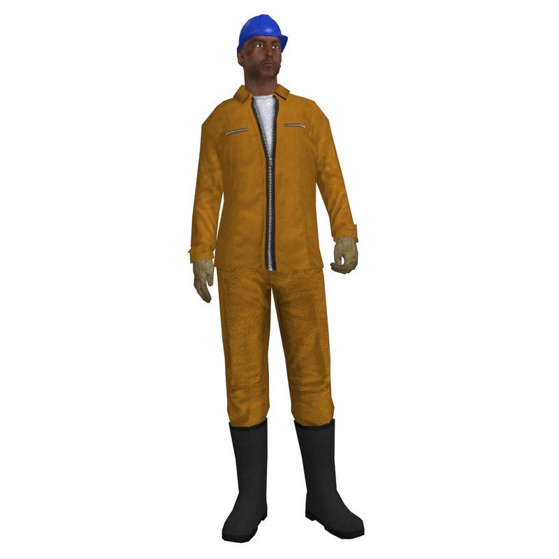 3d max rigged worker man