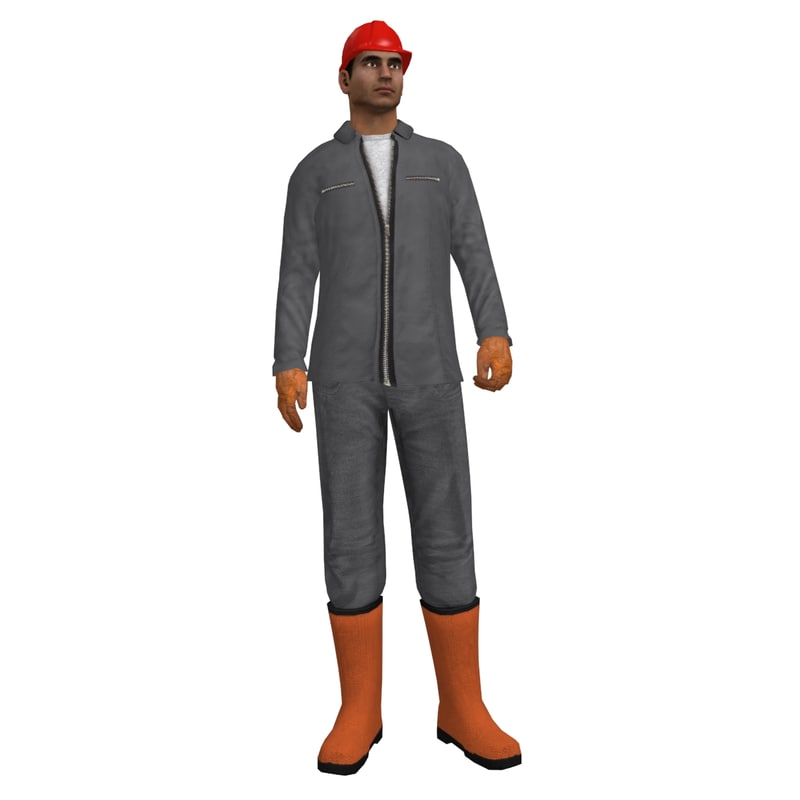 rigged worker man 3d max
