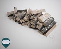 3d model wood snow