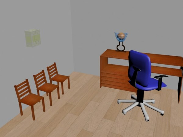 free table chair 3d model