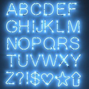 3d 3ds neon alphabet