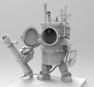 3d steampunk robot model