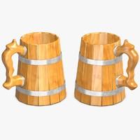 3d wooden beer mug model