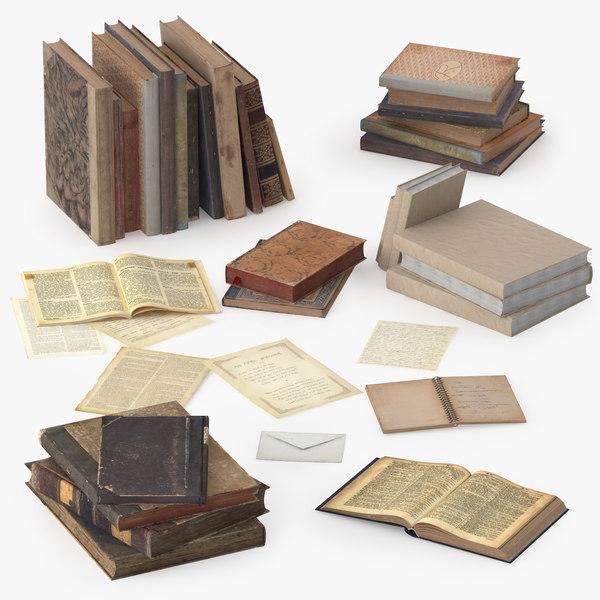 3d old books model