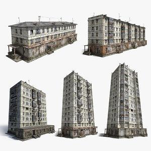 3d model abandoned soviet houses