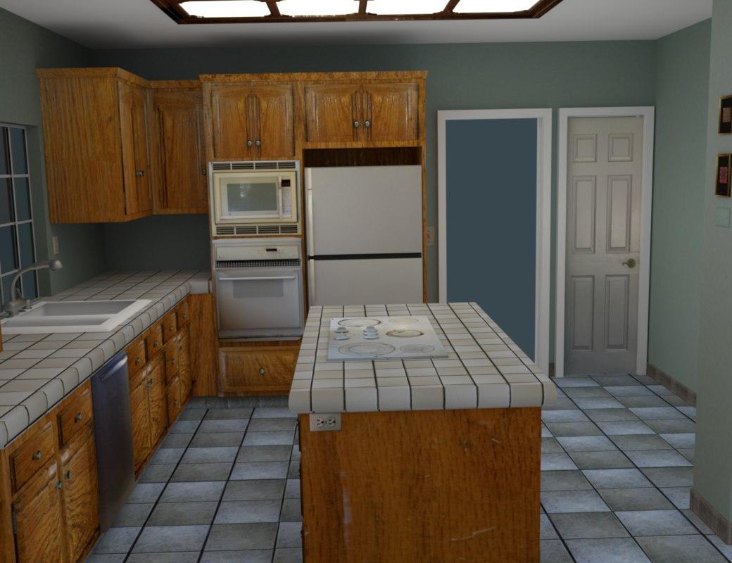 kitchen room 3d obj