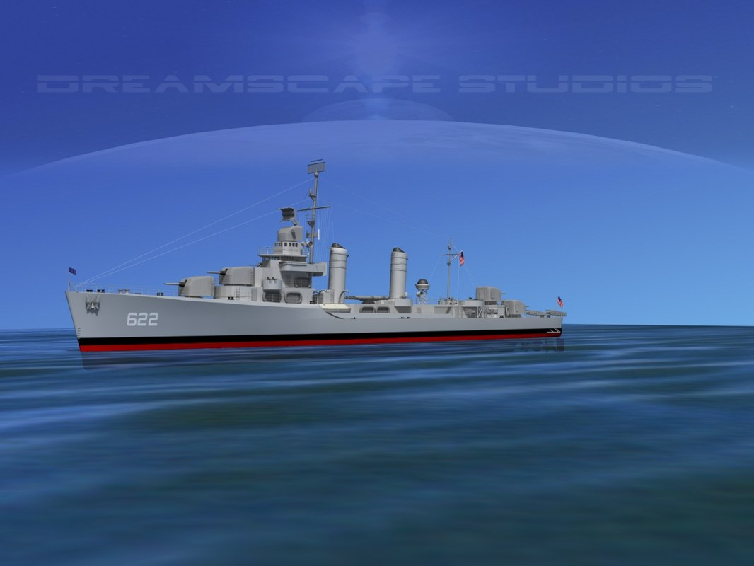 anti-aircraft destroyers class gleaves 3d model