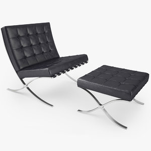 knoll barcelona chair 3d model
