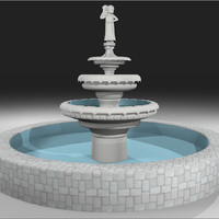fountain cherub 3d c4d