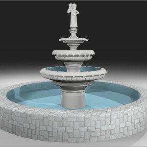 fountain cherub 3d c4d