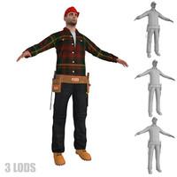 3d worker lods man model