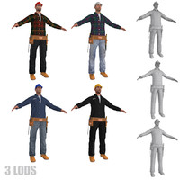pack workers man 3d model
