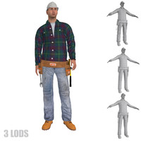 3d model rigged worker lods s