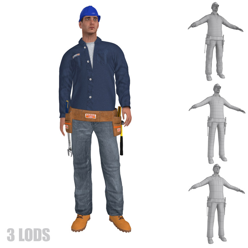 max rigged worker lods s