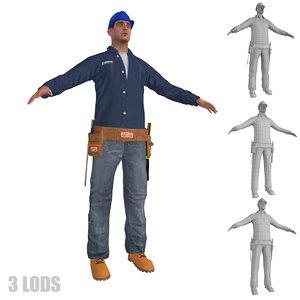 3d model worker lods man
