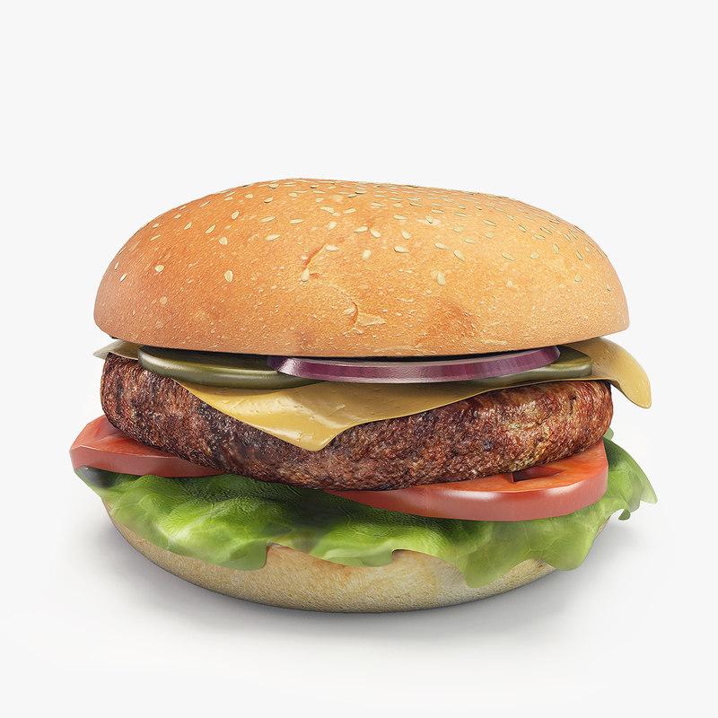 3d hamburger patty cheese