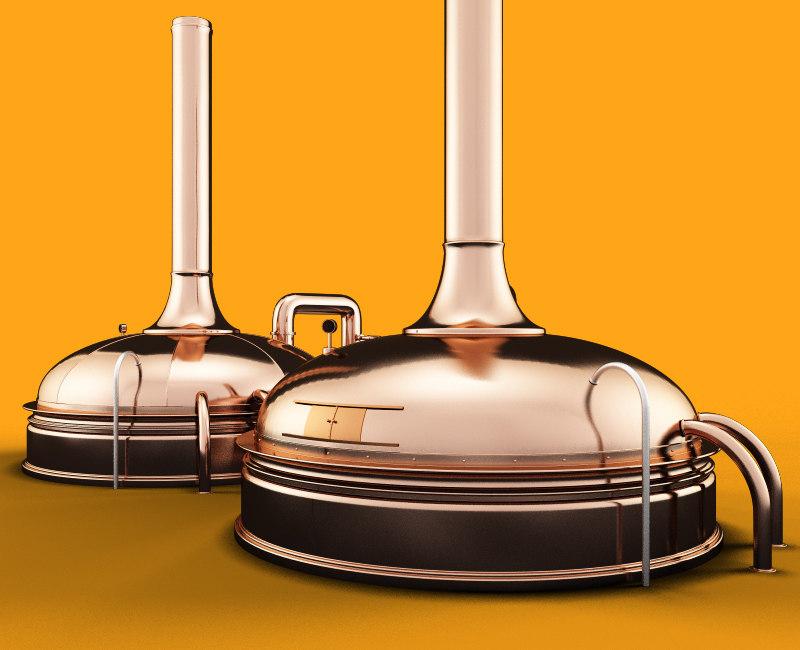 3d copper beer kettle model