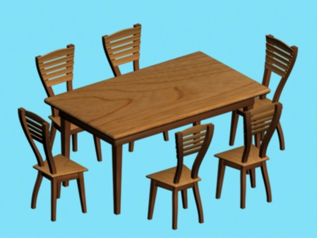 3ds wood chairs table