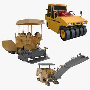 3d asphalt paver roller model
