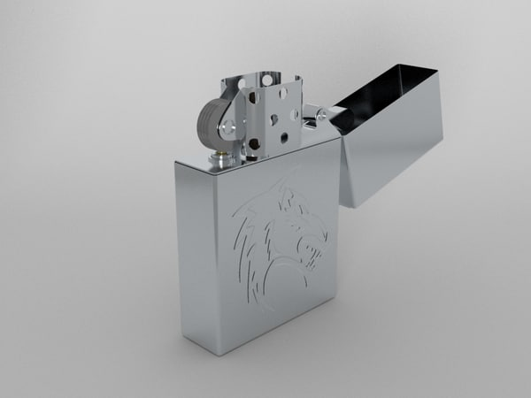 chrome zippo lighter 3d model