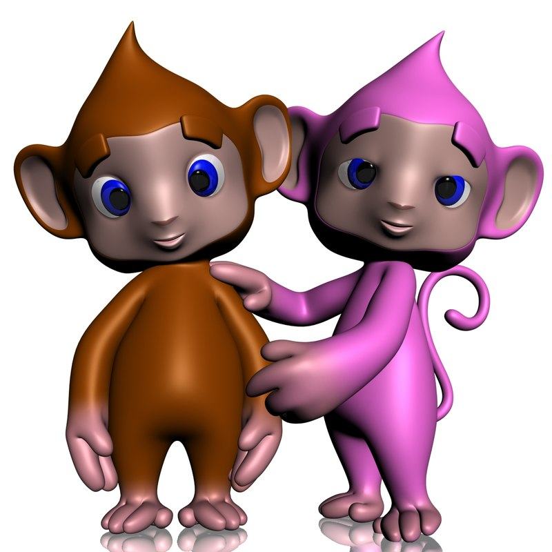 max cute monkey rigged colorful