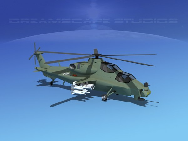 wz-10 attack helicopters z-10 3d model
