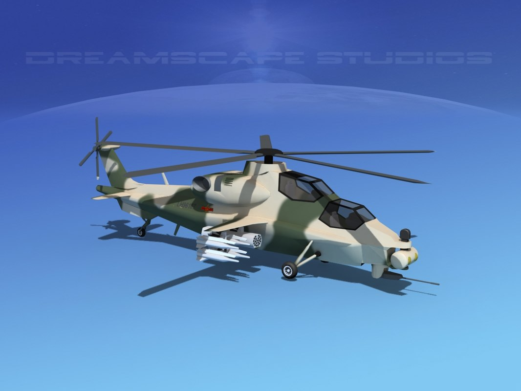 3d wz-10 attack helicopters z-10 model