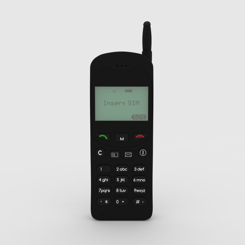 3d model retro old cellphone