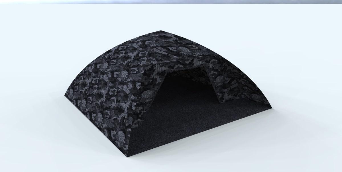 3d model of camo tent dark