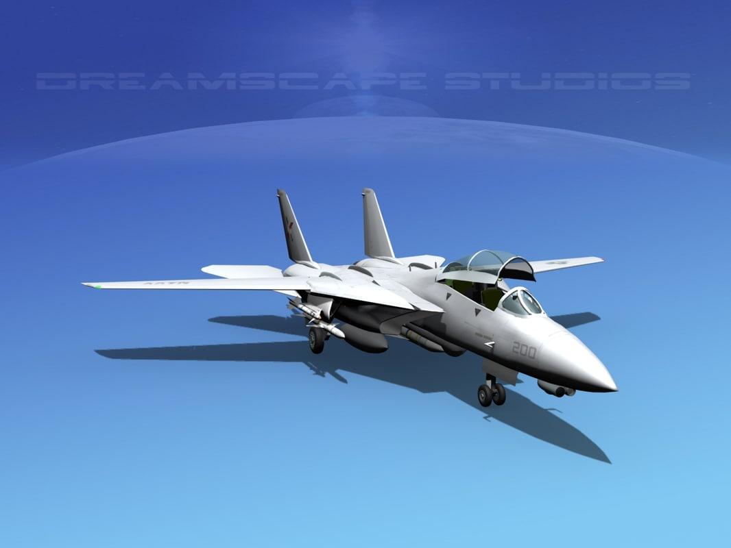 3d grumman tomcat f-14d fighter model