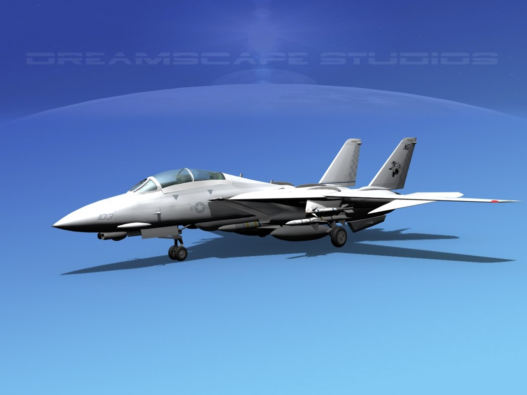 grumman tomcat f-14d fighter aircraft 3d model